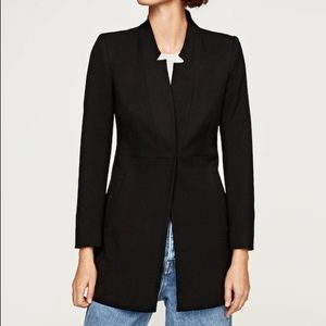 NWT Zara Navy Inverted Collar Frock Coat Blazer